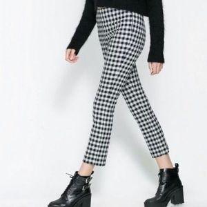 [Zara] Gingham Black and White Pants Size Medium